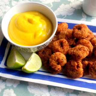 Spicy Breaded Prawns with Mango Mustard Dip