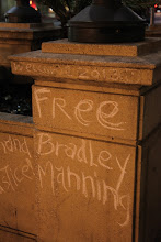 Photo: Free Bradley Manning chalk graffiti in front of Oakland's City Hall