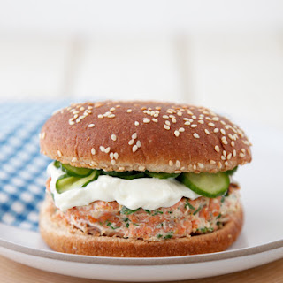 Family Favorite Salmon Burgers with Quick Pickled Cukes.