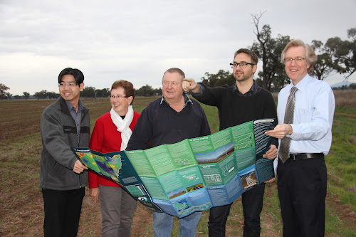It might have been an overcast Tuesday afternoon when this photo was taken but the proposed Southern Solar Farm is located at a great solar resource at 'Glenville' on Old Gunnedah Road. Pictured are Canadian Solar senior manager Yu Chan, Glenville owners Kerrie and Vince Haire, Canadian Solar project developer Shane Melotte and Narrabri Shire Council economic development manager Bill Birch.