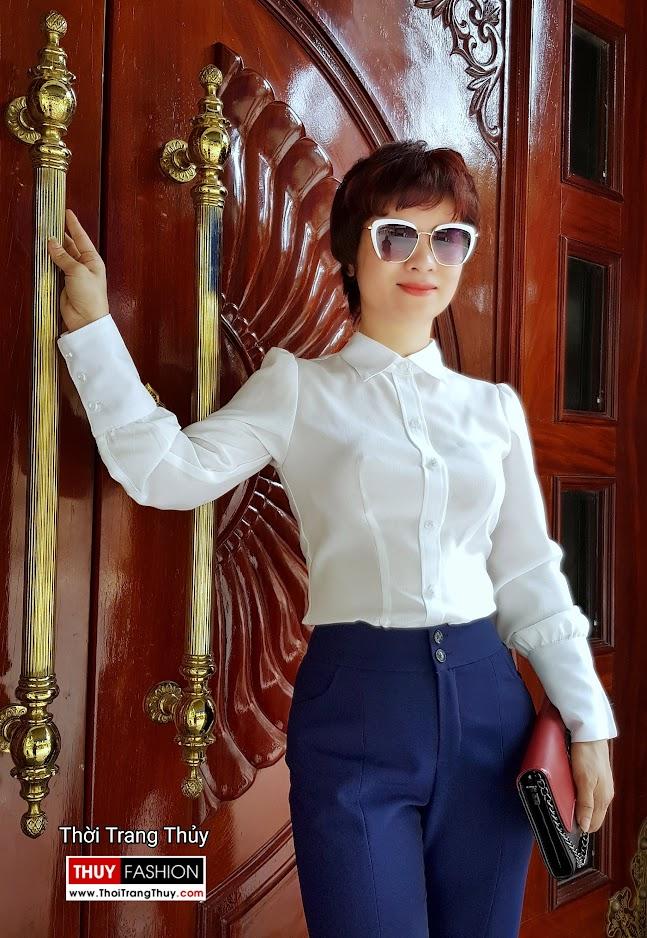 Áo sơ mi nữ và quần ống vẩy xẻ tà mặc tới công sở thời trang thủy ở thái bình