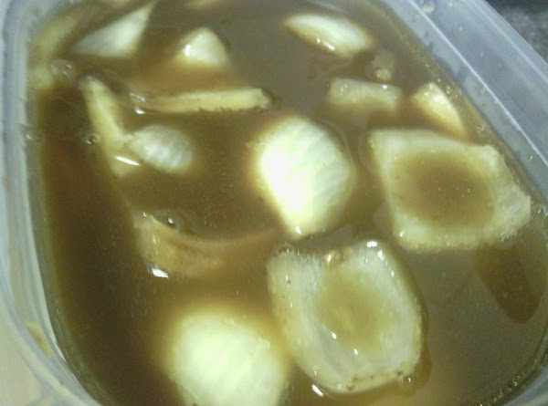 Make sure to drain the broth from the roast including only the onions, just...