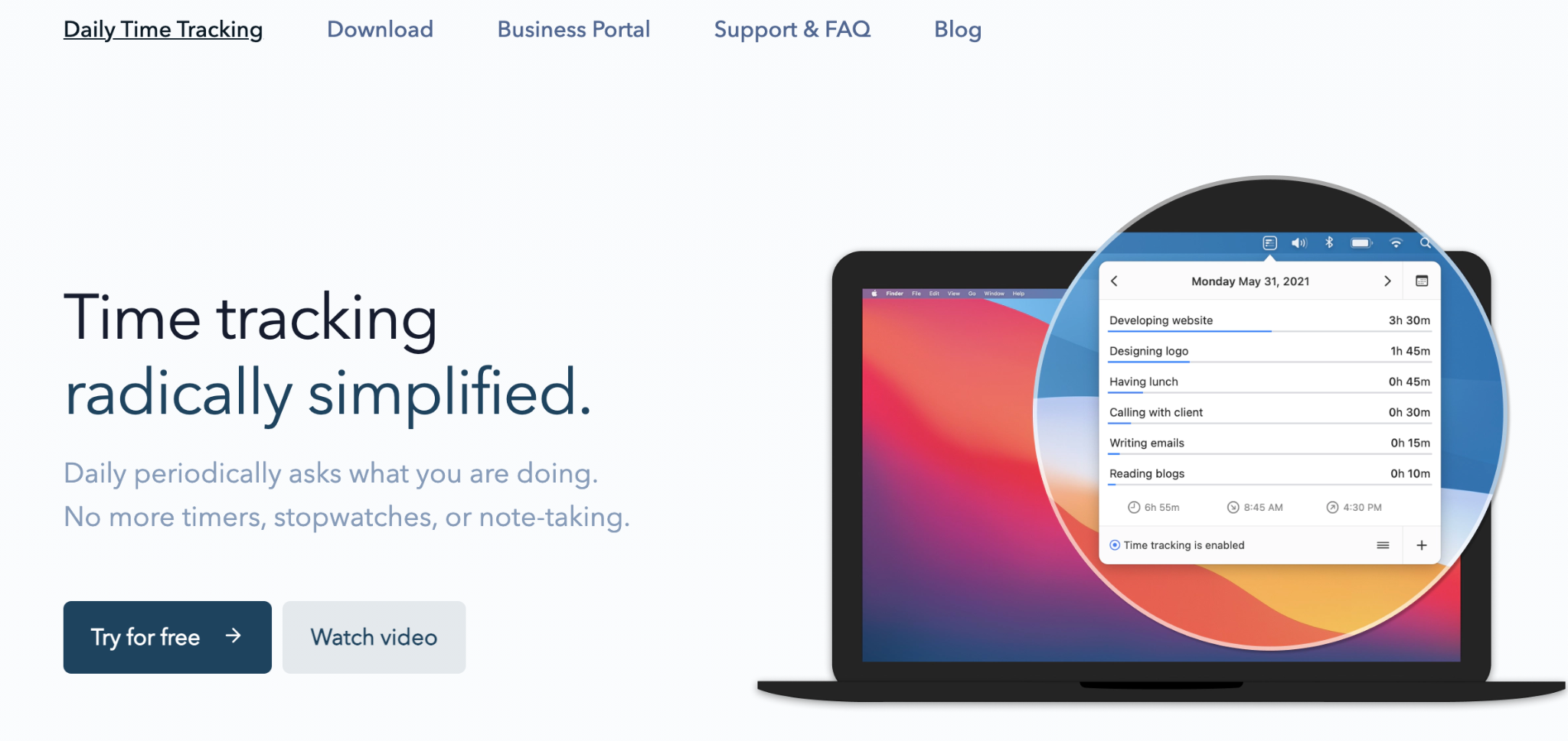 Daily time tracking app for Mac – screenshot from the webpage