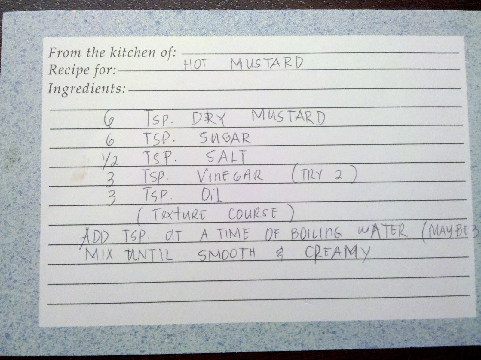 Photo: Hot Mustard Mom's handwritten recipe for Bubbie Lou's Hot Mustard