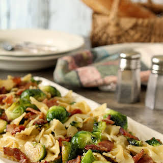 Bowtie Pasta with Bacon and Brussels Sprouts.