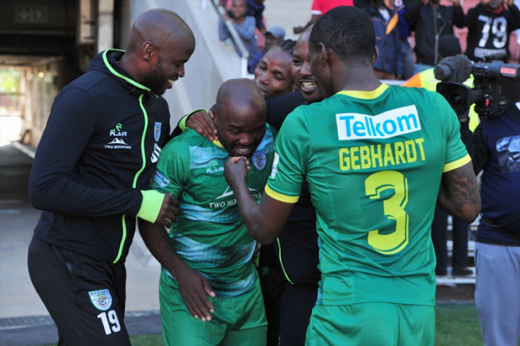 Matome Kgoetyane of Baroka FC celebrate goal with team mates during the Telkom Knockout quarter final match Baroka FC and Mamelodi Sundowns at Peter Mokaba Stadium on November 03, 2018 in Polokwane, South Africa.