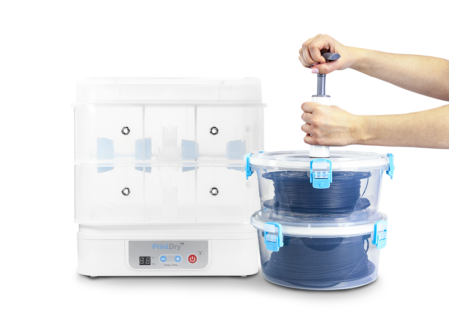 Drying and storing filament for a successful 3D printing experience is made easy thanks to efficient products like the PrintDry.