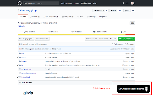 GitZip for github