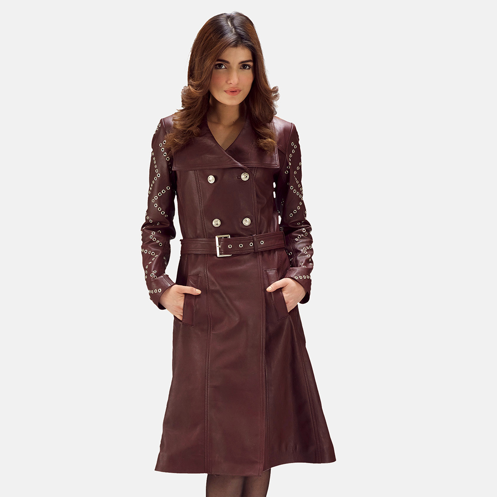 maroon trench coat for women