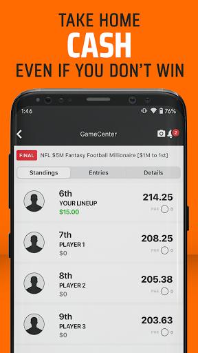 DraftKings - Daily Fantasy Football for Cash 3.89.448 screenshots 2
