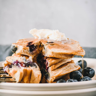 Blueberry Protein Pancakes.