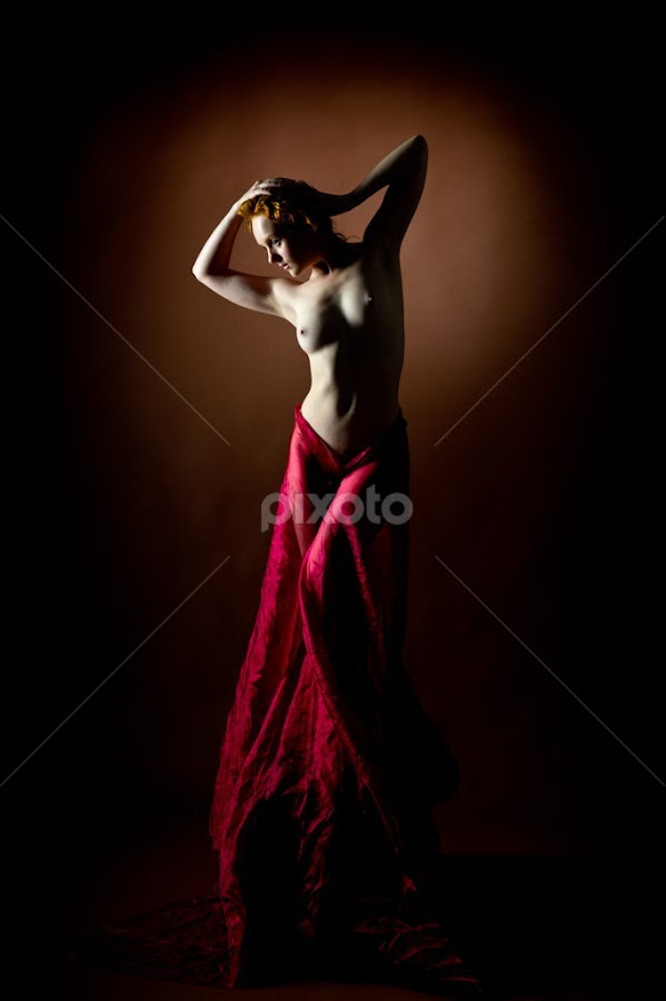 Fireworks by Nigel Johnson - Nudes & Boudoir Artistic Nude ( red, red hair, brown, ivory flame, black )