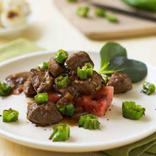 Hoisin-Braised Pork with Grilled Watermelon and Shishito Peppers.