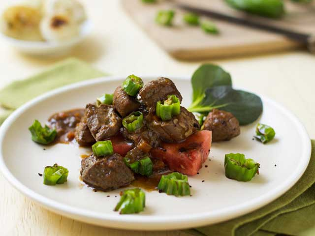 Hoisin-Braised Pork with Grilled Watermelon and Shishito Peppers