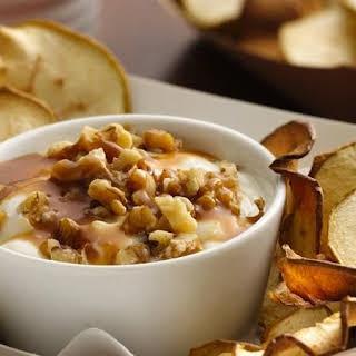 Apple Chips with Salted Caramel Yogurt Dip.