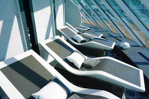 22.jpg - Sometimes you should skip the port and stay onboard. We enjoyed a refreshing day in the Spa Thermal Suites basking in the sun in these heated loungers.