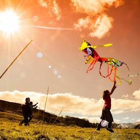 kite Flying by Morag Soszka - Babies & Children Child Portraits