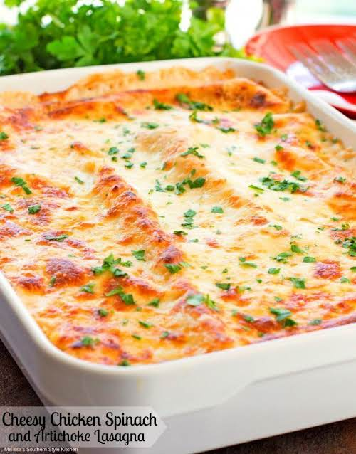 """Cheesy Chicken Spinach and Artichoke Lasagna""""In a bit of a dinner time..."""