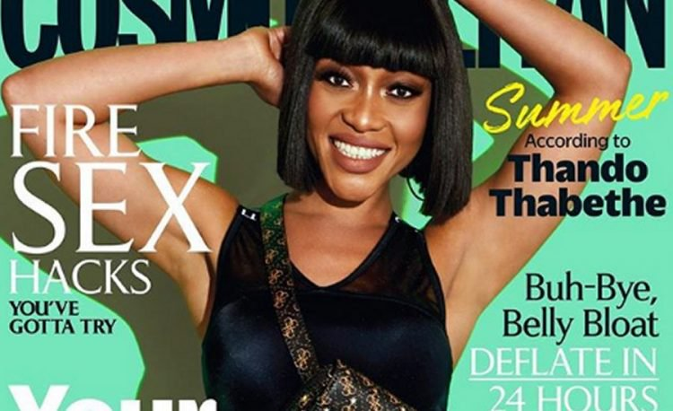 Thando Thabethe on the cover of Cosmopolitan