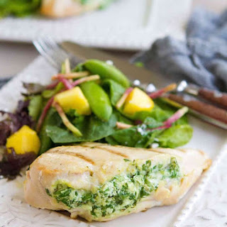 Grilled Spinach Artichoke Stuffed Chicken Breasts.