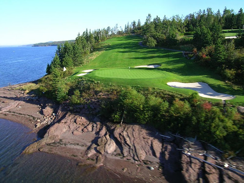 The Algonquin Golf Course offers scenic views of the bay in St. Andrews-by-the-Sea, Canada, just across the strait from Maine.