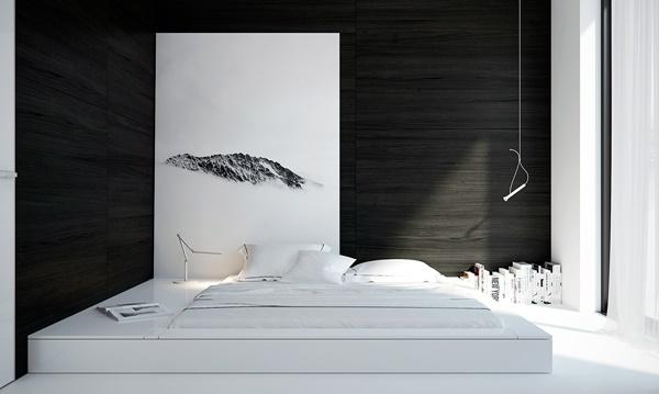 Mẫu phòng ngủ đen trắng với bài trí đơn giản.
