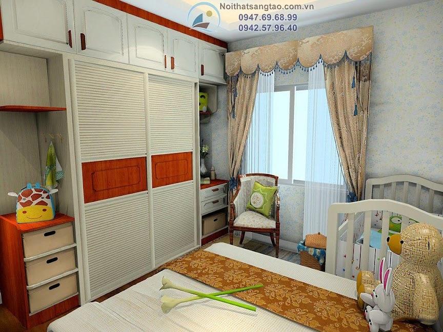 thiết kế phòng ngủ cho bố mẹ và bé
