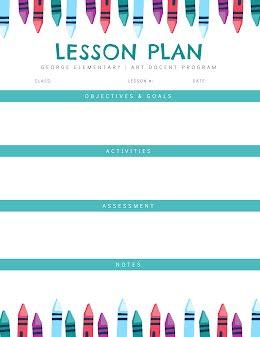 Art Docent Plan - Lesson Plan item