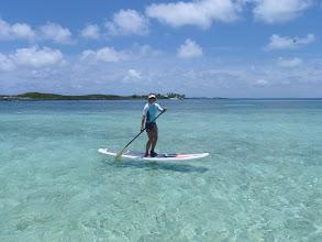 Photo: Anne boarding in the flats off Tahiti Beach