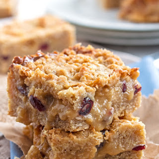 Gooey Fudgy Cranberry White Chocolate Oatmeal Bars