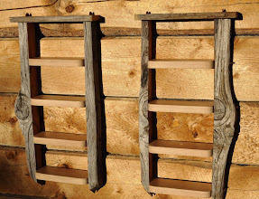 Photo: #7A and B Ladder Shelves. The sides of these two shelves are made from one single piece of Laberge douglas fir stripped into four segments.