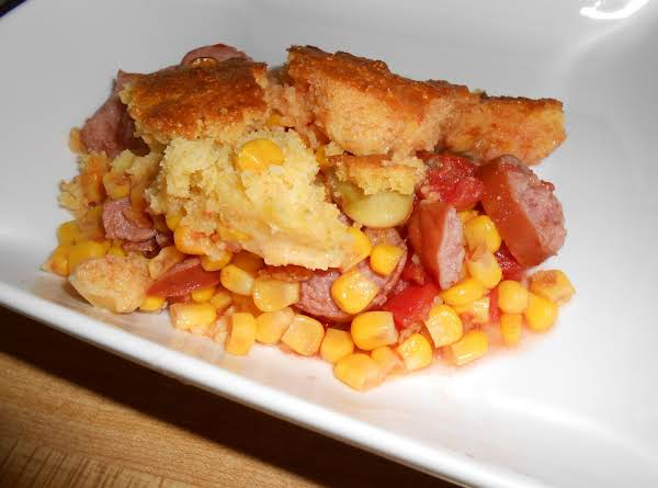 Smoked Sausage And Cornbread Pie
