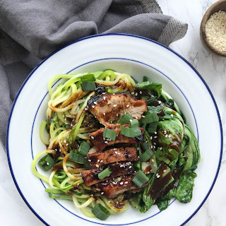 Chinese Pork and Zucchini Noodles with Bok Choy.