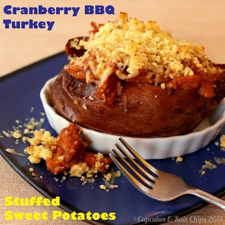 Cranberry BBQ Turkey Stuffed Sweet Potatoes
