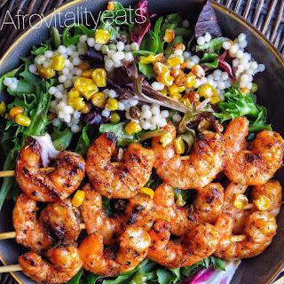 Simple Shrimp Suya Salad w/ Serano honey vinaigrette