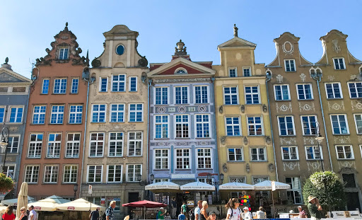 Pretty rowhouses overlooking the main square of Old Gdansk, Poland.