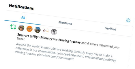 """A person who supported Night Ministry shared their support by changing their Twitter display name to """"Support @NightMinistry for #GivingTuesday"""""""