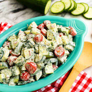Cucumber Tomato Salad with Creamy Herb Dressing.