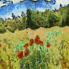 Field by Mikhail Romanovski - Illustration Flowers & Nature