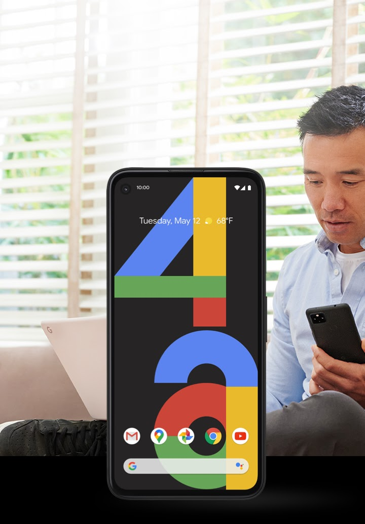 A video of a Google Pixel 4a phone showing simulated screen images of its features in action, such as Google Meet, Pixel Imprint, and Google Assistant.