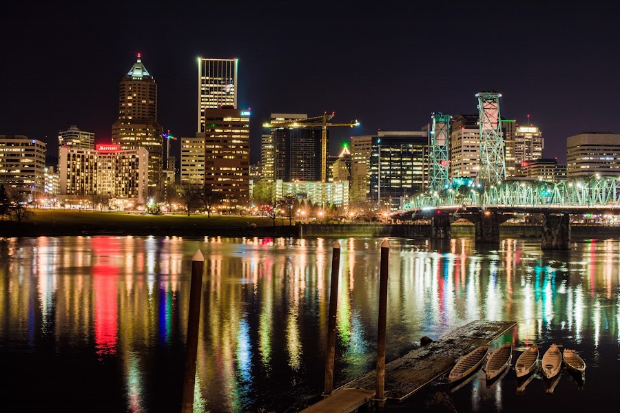 Downtown Portland, Or. by Matthew Bryce - City,  Street & Park  Skylines ( water, reflection, building, skyscrapers, cityscape, boat, dock, city, lights, sky, color, night, bridge, waterfront, river )