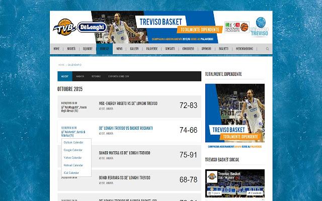 Calendario partite Treviso Basket