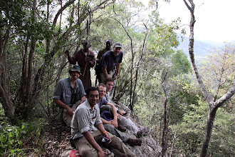 Photo: The TNC team up the mountain (Tim Boucher, Sanjayan, Matt Brown, Mark Tercek and David Banks) - with our elder and scout.