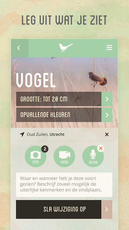 Vroege Vogels app- screenshot