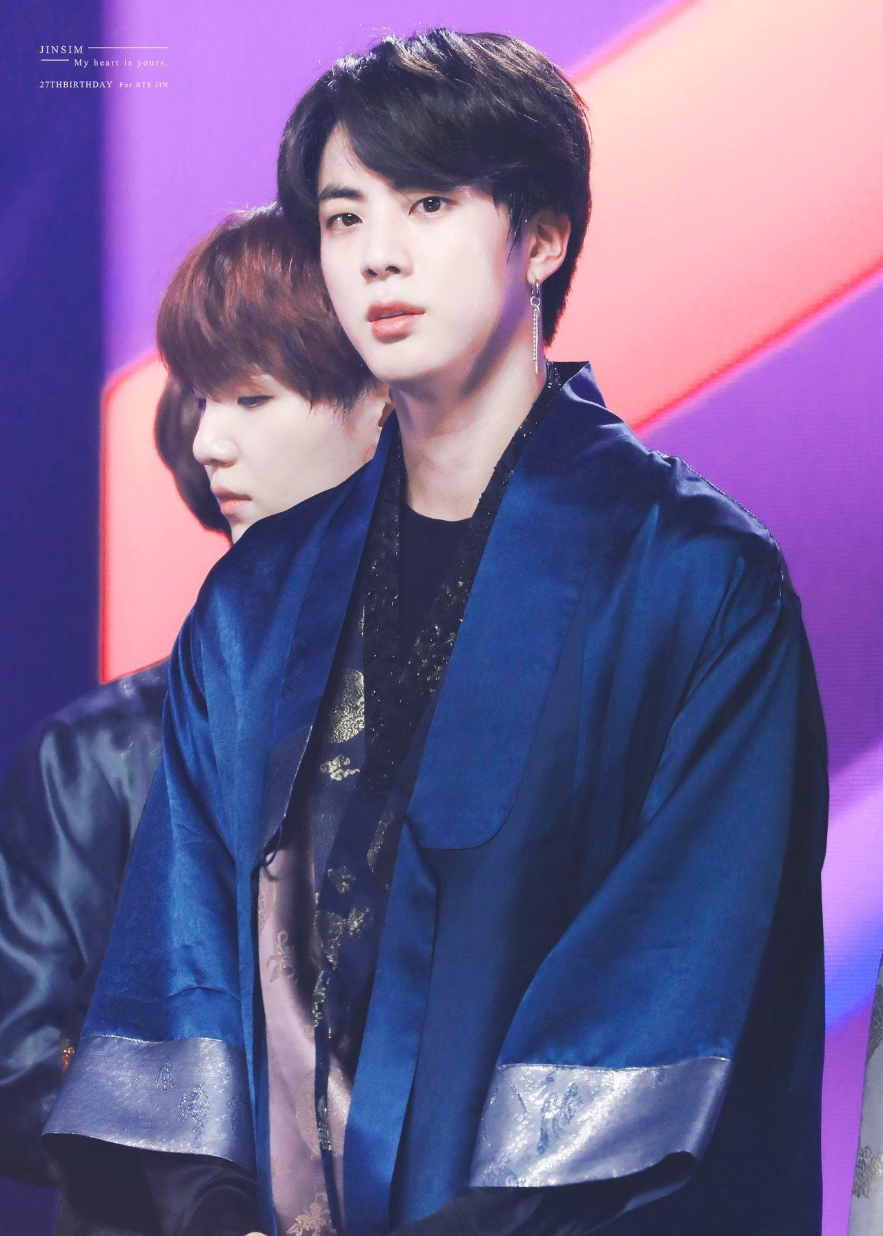 BTS Jin Blue Silk Robe
