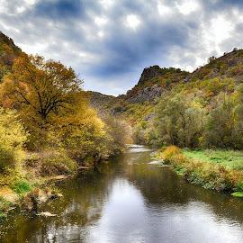 Autumn on Black  River by Katerina Mavrovska - Landscapes Waterscapes