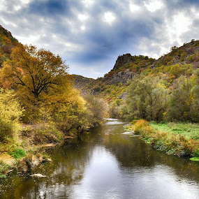 Autumn on Black  River by Katerina Mavrovska - Landscapes Waterscapes