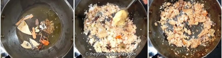 saute whole spices, onions and ginger garlic paste for making egg briyani