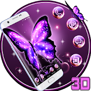 3D Neon Butterfly Theme