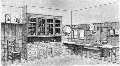 Photo: 1909 This was a kitchen illustrated in Gustav Stickley's book. It was a fairly expensivekitchen, as the walls were covered in tile.